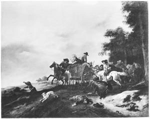 Landschap met een overval op een boerenwagen