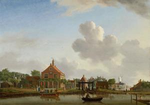 Het polderhuis aan de Boerenwetering in Amsterdam gezien vanaf de Mennonietensloot