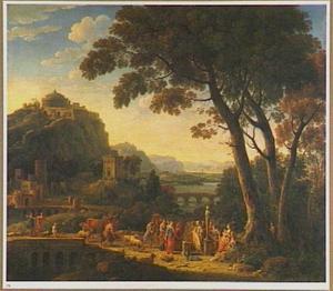 Zuidelijk landschap met aan een herme offerende figuren