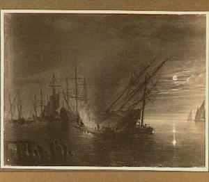 Kalefateren van schepen bij maanlicht