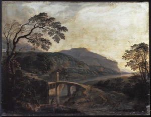 Zuidelijk landschap met een visser bij een brug