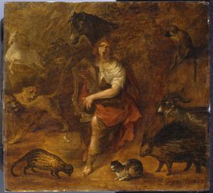 Orfeus spelend voor de wilde dieren