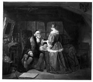 Oude man en meisje in een studeerkamer