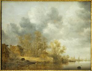 Rivierlandschap met boerderijen en enkele figuren