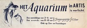 Artis-Aquarium-Tram-Affiche: Het Aquarium in Artis is verlicht
