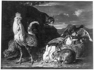 Kippen, konijnen en duiven in een landschap, van links komt een kat aansluipen