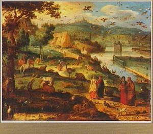 Landschap met de ark van Noach in aanbouw  (Genesis 7:8)