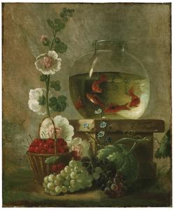 Stilleven met bloemen, vruchten en een vissenkom met goudvissen