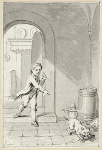 Illustratie voor 'Het geduld' in de Kleine gedichten voor kinderen door H. van Alphen