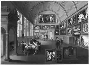 Interieur van een schilderijenverzameling met kunstliefhebbers