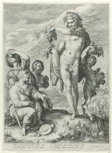 Drinkende mannen betuigen eer aan Bacchus