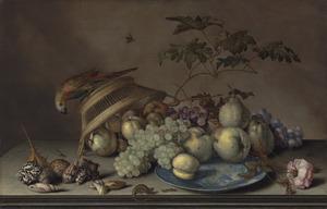 Stilleven met een papegaai op een omgekeerde mand, vruchten op een Wan Li-schotel, en schelpen op een stenen plint