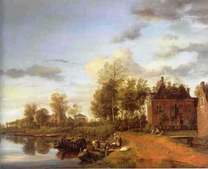 Een landhuis aan de Vliet bij Delft; op de achtergrond een zandtransport