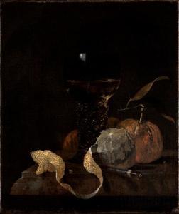 Stilleven met roemer, mes, citroen en sinaasappels