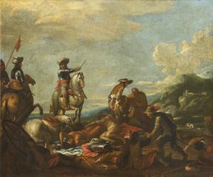 Slagveld met ruiters en gewonde en dode soldaten