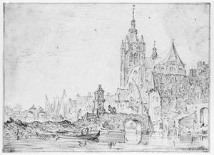 Gezicht in Delft met rechts de Oude Kerk