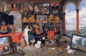 Allegorie van het gezicht (een van de vijf zintuigen): Venus en Cupido in een kunstkabinet met schilderijen, beelden en andere kunstvoorwerpen