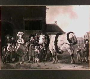 Een optocht met een paasos in een dorp