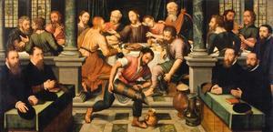 Het Laatste Avondmaal: Christus voorspelt de verloochening van Petrus, met stichters