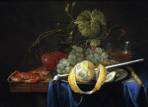 Stilleven met krab, vruchten en glaswerk