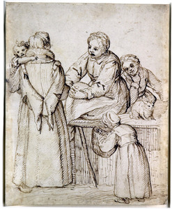 Moeder met kind op de arm in gesprek met een andere vrouw, met twee kinderen en een kat