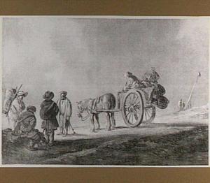 Staande en zittende boeren bij paard-en-wagen met manden