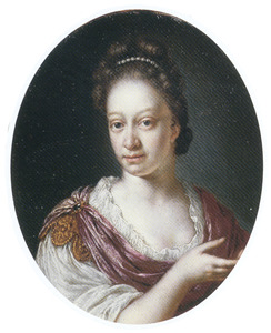 Portret van een vrouw in Romeins kostuum