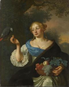 Een jonge vrouw met papegaai