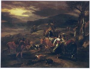 Zuidelijk landschap met herders en hun dieren onderweg