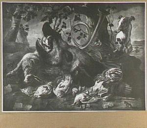 Jachtbuit van everzwijn, haas, gevogelte; rechts een hond
