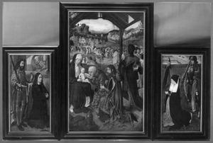 De H. Bavo met stichter (links), de aanbidding van de Wijzen (midden), de H. Adrianus met stichtster (rechts)