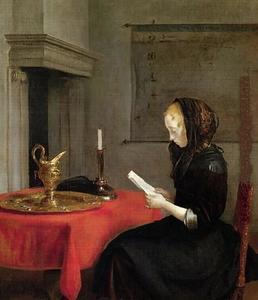 Jonge vrouw, een brief lezend