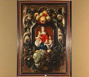 Maria met kind en Johannes de Doper in een cartouche versierd met vruchten