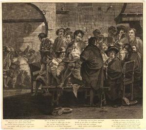 Inauguratie van een lid van de Schildersbent in een Romeinse herberg