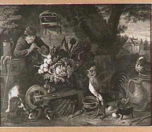 Boerderijstilleven met links een man die een pijpje rookt