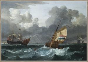Een statenjacht en andere schepen op ruwe zee