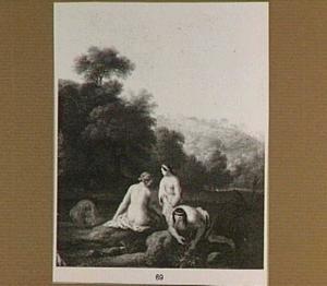 Heuvellandschap met badende vrouwen