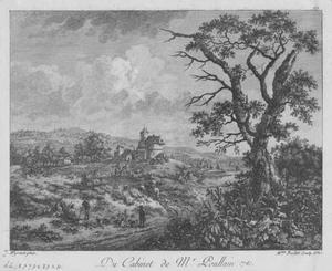 Landschap met rustende jagers bij een kasteel
