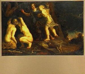 Dido en Aeneas tijdens de jacht door slecht weer overvallen  (Vergilius, Aeneis) (JKO)