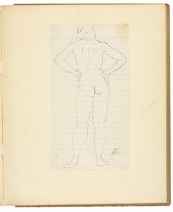Staand vrouwelijk naaktmodel, rugfiguur