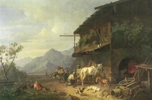 Een hoefsmid aan het werk in zijn smidse in de bergen