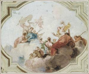 Ontwerp voor een plafondstuk met Mercurius en de Schikgodinnen