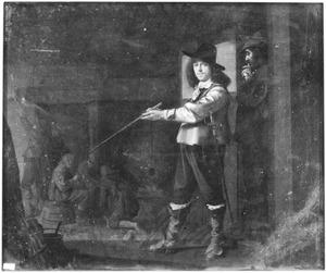 Jonge officier bij rustende soldaten in een wachtlokaal