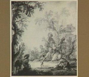 Landschap met kinderen en een dansende hond