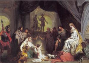 Pyrrus als kind aanbidt de goden aan het hof van Glaucias