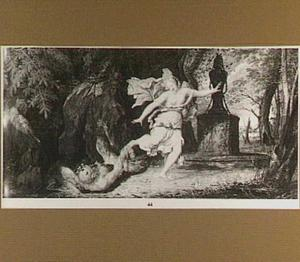 Nymph ontvlucht een sater bij een standbeeld van Pan