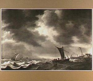 Zeilschepen op een binnenwater, rechts een aanlegplaats
