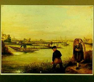 Rivierlandschap met enkele vissers