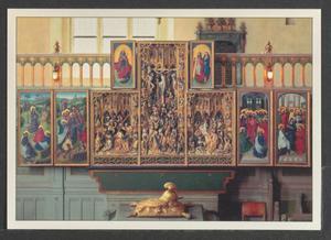 Christus in Gethsemane, de gevangenneming (binnenzijde linkerluik); God de Vader (binnenzijde linker bovenluik); De bespotting van Christus, de kruisiging, de opstanding (middendeel); Christus en Maria (binnenzijde rechter bovenluik); Christus' verschijning aan de discipelen, Pinksteren (binnenzijde rechterluik)