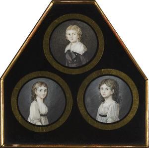 Portret van Bartha Maria Sophia Veerman Senserff ( -1858), portret van Maria Charlotte Veerman Senserff (1790-1825) en portret van een jongen, waarschijnlijk een zoon van Abraham Veerman Senserff (1768-1804), in één verzamellijst